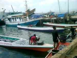Nelayan saat mengangkut hasil tangkapan di pelabuhan Bima / foto: Agus