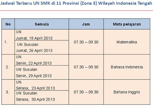 Jadwal ujian nasional (UN) SMK 2013