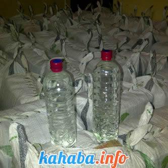 Barang bukti 111 botol miras oplosan yang dikemas dengan karung plastik