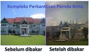 Paruga Parenta terletak di sebelah barat gedung Pemerintah Kabupaten Bima yang terbakar.