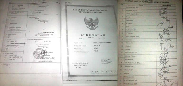 Tandatangan Sertifikat yang diduga discan dan tandatangan mosi tidak percaya pegawai terhadap Kepala BPN Kabupaten Bima. Foto: BIN