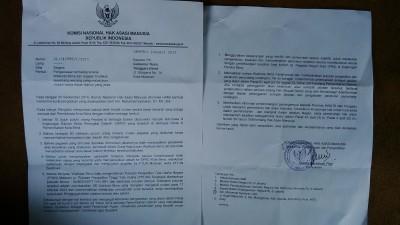Surat Komnas HAM yang ditujukan ke Gubernur NTB. Foto: Bin