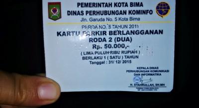 Kartu Parkir dari Dishubkominfo Kota Bima. Foto: Bin