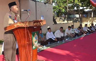 Penjabat Bupati Bima Drs. H. Bacrudin memberikan arahan pada Imtaq Gabungan Pemkab Bima. Foto: Hum