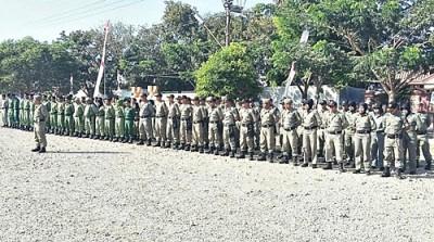 Apel kesiapsiagaan Satuan  perlindungan masyarakat  (Linmas) Kabupaten Bima. Foto: Hum