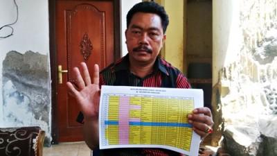 Ketua Tim Koalisi Partai Pengusung DINDA, Baharudin menunjukan data NIK Ganda. Foto: Bin