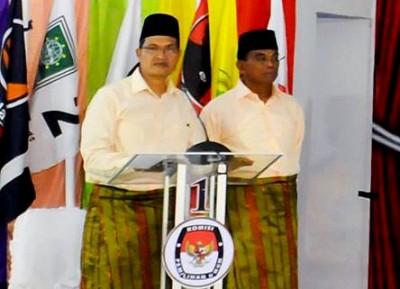 Pasangan Khayir - Hamid saat berada di arena Debat Paslon. Foto; Raka Mariko