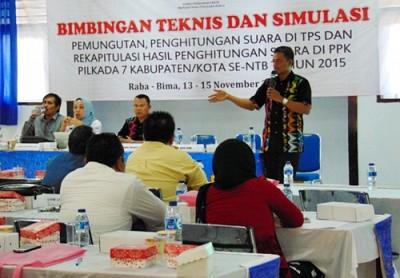 Bimtek dan Simulasi yang digerlar KPU Provinsi NTB. Foto: Ady
