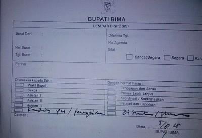 Lembaran disposisi paket proyek yang ditandatangani mantan Bupati Bima