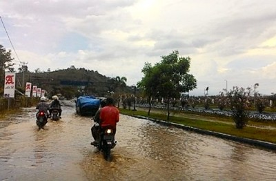 Kondisi batas kota jika hujan datang. Foto: Bin