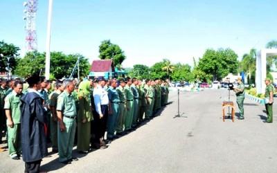 Walikota Bima saat memberikan sambutan saat acara mutasi dan rotasi 152 pejabat Pemkot Bima. Foto: Hum