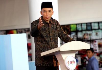 Gubernur Provinsi NTB H. Zainul Majdi memberikan sambutan pada pembukaan Hari Pers Nasional (HPN) di LCC Mataram. Foto: Bin