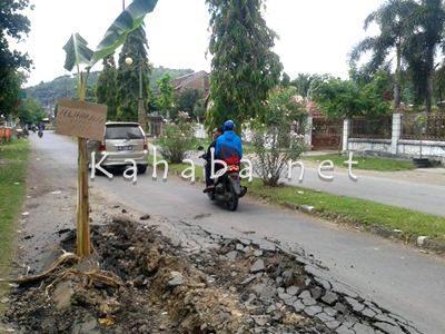 Kondisi jalan rusak yang ditanami pohon pisang. Foto: Noval