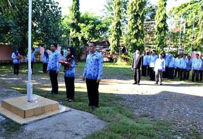 Upacara Harkitnas yang digelar KPU Kota Bima. Foto: KPU Kota Bima
