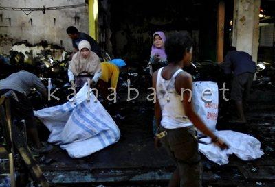 Kondisi pasca kebakaran Pasar Senggol. Foto: Deno
