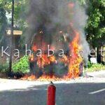 Mini Bus Terbakar, SPBU Nyaris Dilahap Api