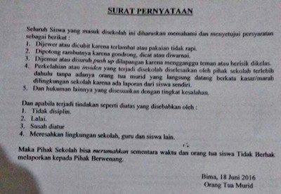 Ini surat pernyataan yang dinilai tidak mendidik. Foto: Ady