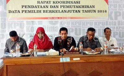 Rakor Pendataan Pemilih Berkelanjutan yang digelar KPU Kota Bima. Foto: Eric