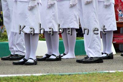 Sepatu petugas Paskibraka Kota Bima copot. Foto: Bin
