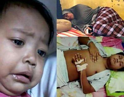 Foto Hasanudin dan Nurhayati berbaring dan anaknya Aisyah. Foto: Istimewa