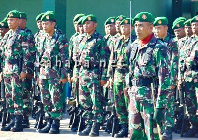 Kodim 1608 Bima saat menggelar Upacara HUT TNI ke-71. Foto: Ady
