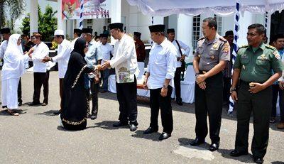 Penyambutan kepulangan jamaah haji Kota Bima. Foto: Hum
