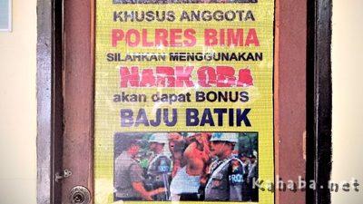 Pesan Polres Bima untuk anggota agar tidak mengkomsumsi narkoba. Foto: Ady