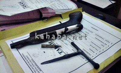 Senpi, Peluru dan Kunci Letter T milik Amrin. Foto: Deno