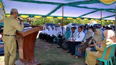 Wakil Bupati Bima saat menyampaikan sambutan dihadapan 200 peserta tes Cakep. Foto: Hum