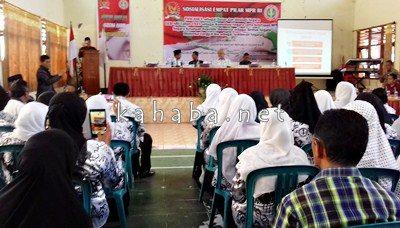 Kegiatan Sosialisasi 4 Pilar Kebangsaan yang digelar Anggota MPR RI dan PGRI Kota Bima. Foto: Eric