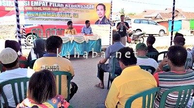 Lutfi saat menggelar acara sosialisasi 4 pilar kebangsaan di Tanjung. Foto: Ady