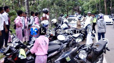 Puluhan pelajar saat terjaring operasi gabungan. Foto: Deno