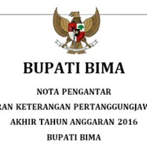 Nota Pengantar LKPJ Bupati Bima Akhir Tahun Anggaran 2016