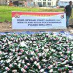 Polres Bima Kota Musnahkan Ribuan Botol Miras dan Tramadol