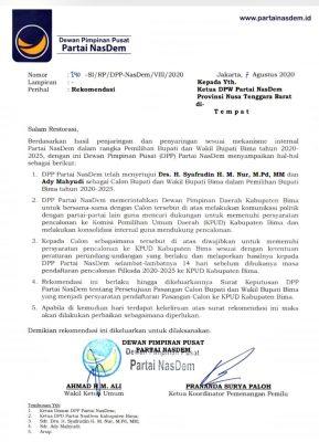 Nasdem Tunjukan Rekomendasi untuk Pasangan Syafa'ad