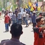 Aksi Tolak UU Cipta Kerja Ricuh, Polisi Terluka, Belasan Massa Aksi Diamankan